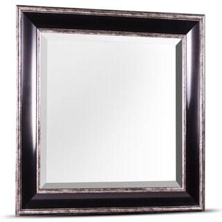 American Art Decor Hartley Medium Square Black Antiqued Silver Framed Beveled Wall/ Vanity Mirror - A/N