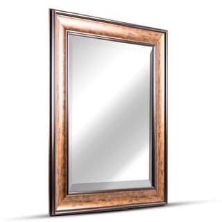 American Art Decor Hartley Medium Rectangular Bronze Espresso Accent Framed Beveled Wall Vanity Mirror - Brown - A/N
