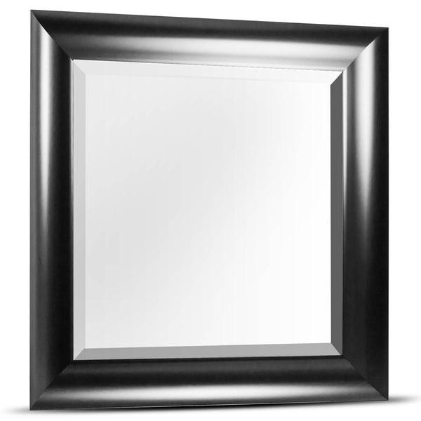 American Art Decor Leighton Medium Square Black Framed Beveled Wall Vanity Mirror - A/N