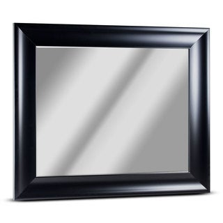 Bentley Medium Rectangular Black Framed Beveled Wall Vanity Mirror