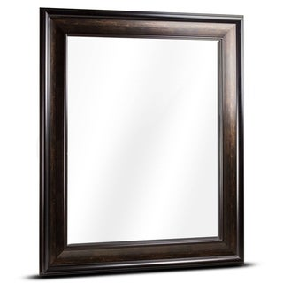 American Art Decor Hartley Large Rectangular Espresso Framed Beveled Wall Vanity Mirror - Brown - A/N