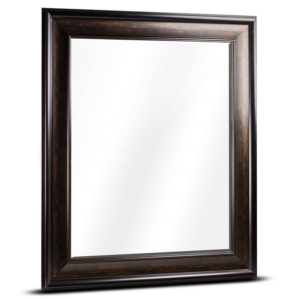 Shop American Art Decor Hartley Large Rectangular Espresso Framed Beveled Wall Vanity Mirror
