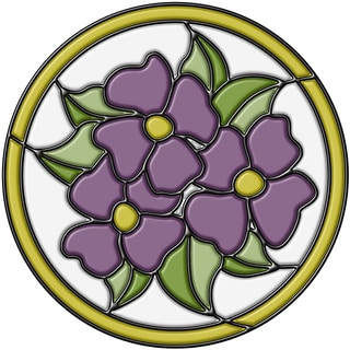 Amethyst Pansy Medallion Stained Glass