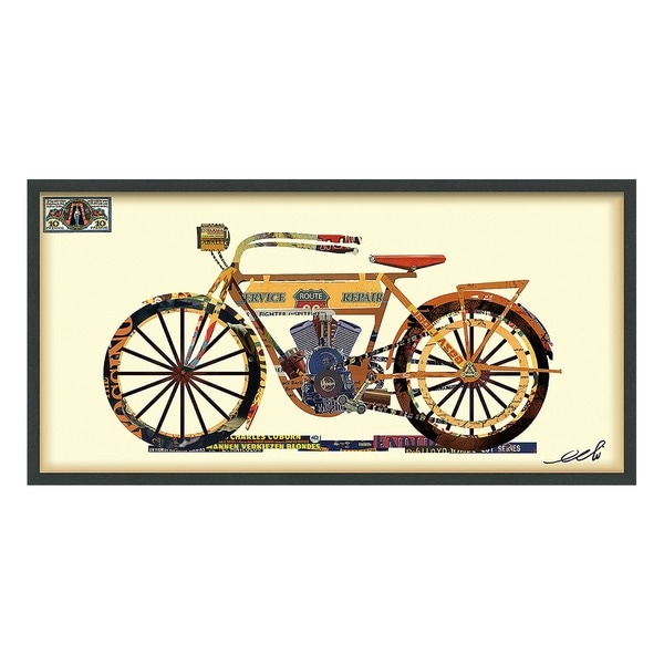 Empire Art 'Golden Bike' Hand Made Signed Art Collage by EAD Artists Co-op under Tempered Glass in Black Frame