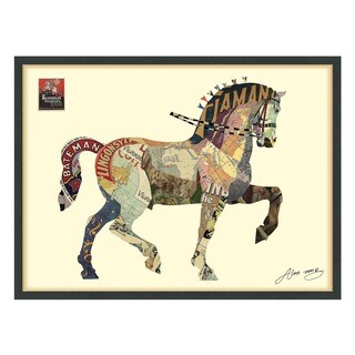 Empire Art 'Carousel Horse' Hand Made Signed Art Collage by EAD Artists Co-op under Tempered Glass in Black Frame