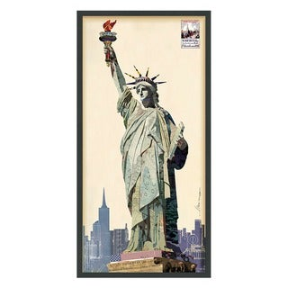 Empire Art 'Lady Liberty' Hand Made Signed Art Collage by EAD Artists Co-op under Tempered Glass in Black Frame