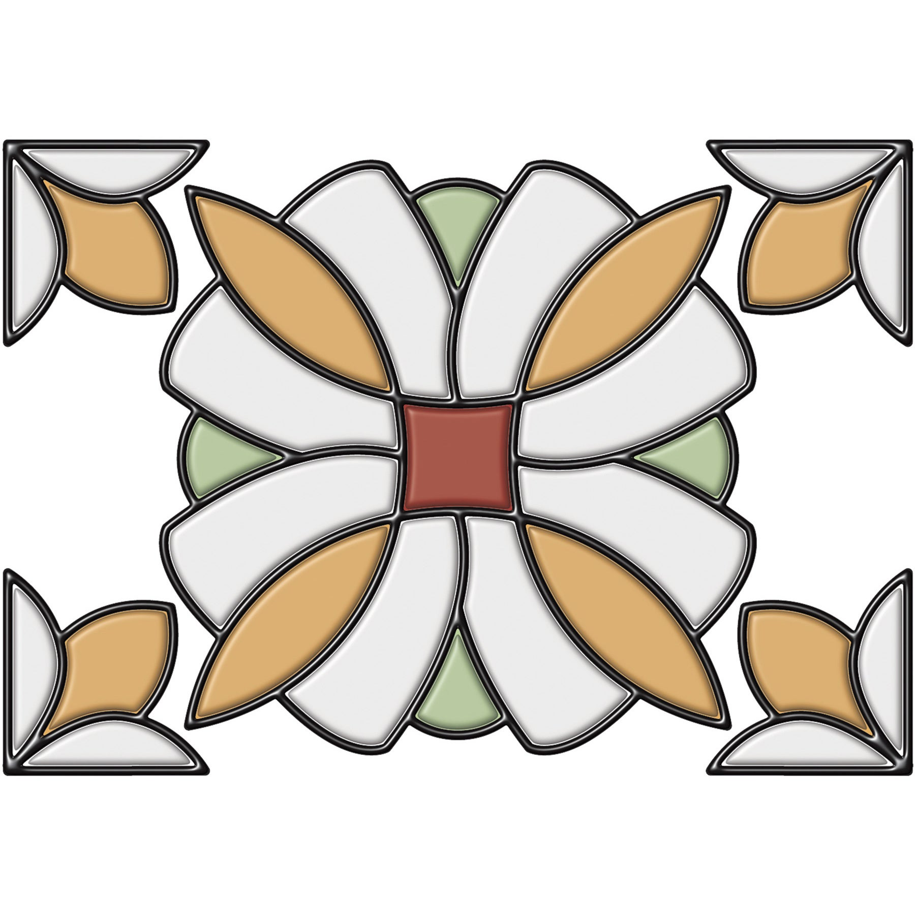 Brewster Amber Essex Stained Glass (Orange)