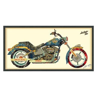 'Los Angeles Rider' Hand Made Wall Art Collage under Tempered Glass in Black Frame Signed by Alex Zeng