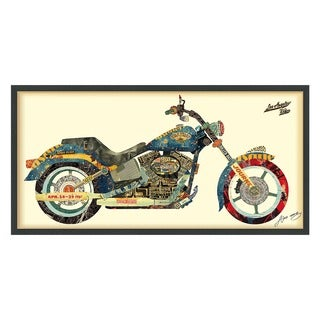 Empire Art 'Los Angeles Rider' Hand Made Signed Art Collage by EAD Artists Co-op under Tempered Glass in Black Frame