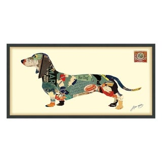 'Dachshund' Hand Made Dog Wall Art under Tempered Glass in Black Frame