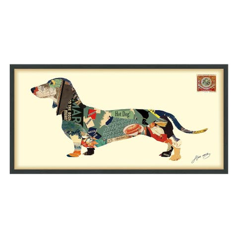 Empire Art 'Dachshund' Hand Made Signed Art Collage by EAD Artists Co-op under Tempered Glass in Black Frame