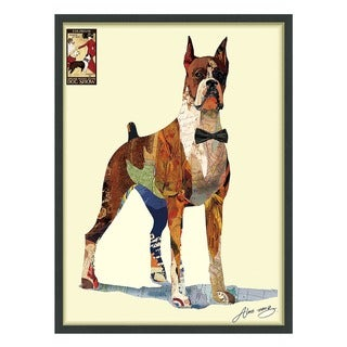 Empire Art 'The Boxer' Hand Made Signed Art Collage by EAD Artists Co-op under Tempered Glass in Black Frame