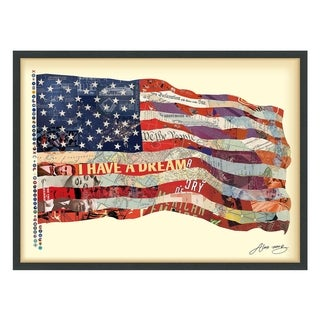 Empire Art 'Old Glory' Hand Made Signed Art Collage by EAD Artists Co-op under Tempered Glass in Black Frame