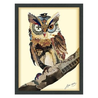 Empire Art 'The Wisest Owl' Hand Made Signed Art Collage by EAD Artists Co-op under Tempered Glass in Black Frame