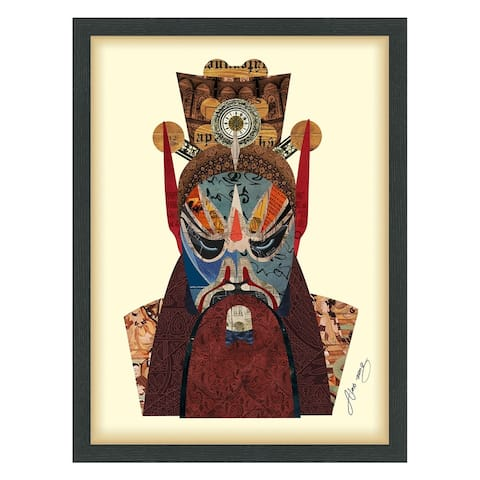 Empire Art 'Beijing Opera Mask #2' Hand Made Signed Art Collage by EAD Artists Co-op under Tempered Glass in Black Frame
