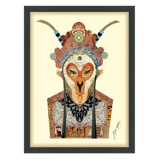Empire Art 'Beijing Opera Mask #1' Hand Made Signed Art Collage by EAD Artists Co-op under Tempered Glass in Black Frame