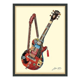 Empire Art 'Electric Guitar' Hand Made Signed Art Collage by EAD Artists Co-op under Tempered Glass in Black Frame