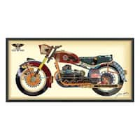 Empire Art 'Holy Harley' Hand Made Signed Art Collage by EAD Artists Co-op under Tempered Glass in Black Frame