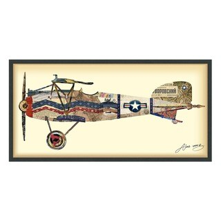 Empire Art 'Antique Biplane #3' Hand Made Signed Art Collage by EAD Artists Co-op under Tempered Glass in Black Frame