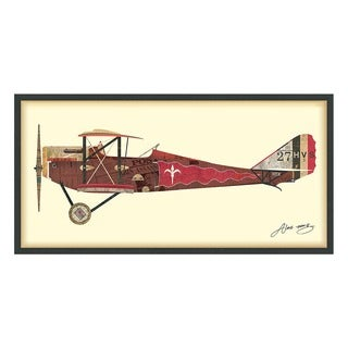 Empire Art 'Antique Biplane #2' Hand Made Signed Art Collage by EAD Artists Co-op under Tempered Glass in Black Frame