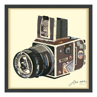 Empire Art 'SLR Camera' Hand Made Signed Art Collage by EAD Artists Co-op under Tempered Glass in Black Frame