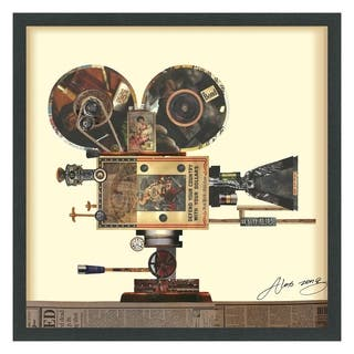Empire Art 'Antique Film Projector' Hand Made Signed Art Collage by EAD Artists Co-op under Tempered Glass in Black Frame