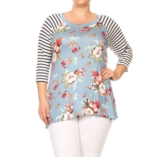 Women's Plus Size Floral Pattern Tunic with Striped Sleeves