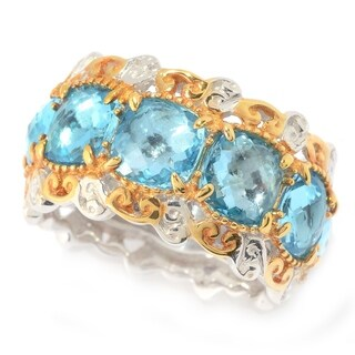 Michael Valitutti Palladium Silver Checkerboard Cut Swiss Blue Topaz Eternity Band Ring