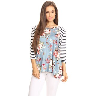 Women's Floral Pattern Top with Striped Sleeves
