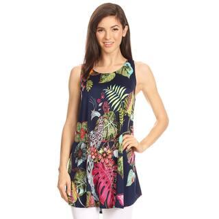 Women's Sleeveless Peacock Pattern Top|https://ak1.ostkcdn.com/images/products/16565560/P22897516.jpg?impolicy=medium