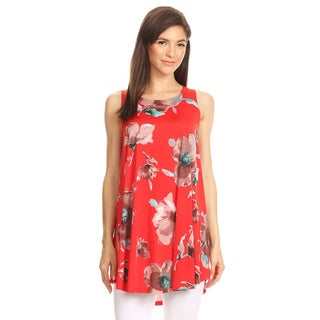 Women's Red Floral Pattern Sleeveless Top