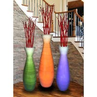 Set of 3 Tall Bamboo Floor Vases, in Orange, Purple, and Green