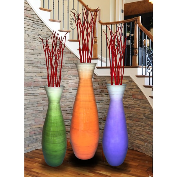 Finest Set of 3 Tall Bamboo Floor Vases, in Orange, Purple, and Green  MM83