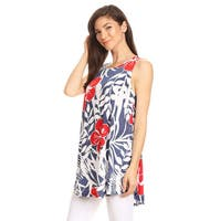 Women's Sleeveless Tropical Floral Top