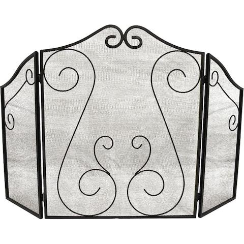 ShelterLogic Black Scrollwork Fireplace Screen