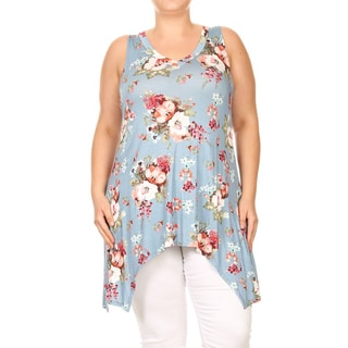 Women's Plus Size Sleeveless Floral Top