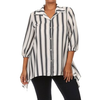Women's Plus Size Vertical Striped Collared Shirt