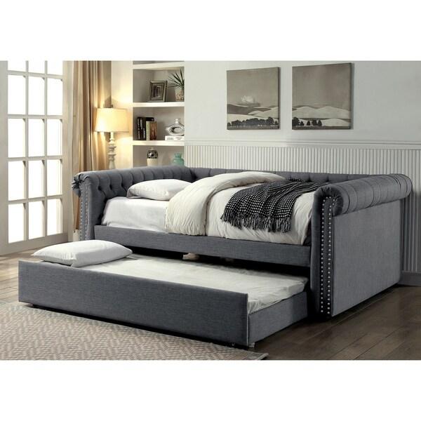 Furniture of america nellie tuxedo style 2 piece tufted for Furniture of america daybed