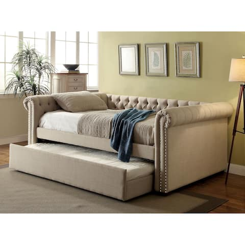 Nellie Contemporary Full Daybed with Twin Trundle Set by FOA