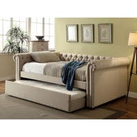 Furniture of America Nellie Tuxedo Style 2-piece Tufted Linen Daybed with Twin Trundle Set