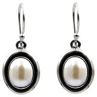 Sterling Silver Oval Freshwater Pearl Drop Earrings
