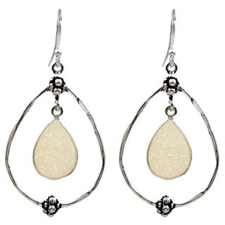 Sterling Silver Dangling Hoop Earring with White Titanium Druzy