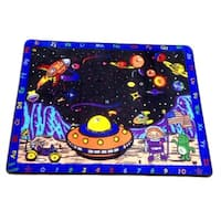 Space Station Multicolor Nylon Children's Educational Play Area Rug - 4'4 x 5'6