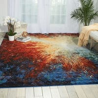 Nourison Chroma Red Flare Modern Area Rug - multi