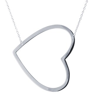 Sterling Silver Side Heart  Necklace