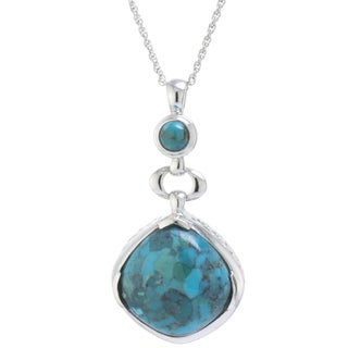 Athra Luxe Collection Sterling Silver Enhanced Turquoise Drop Pendant Necklace