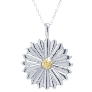 Two Tone Sterling Silver Daisy Necklace