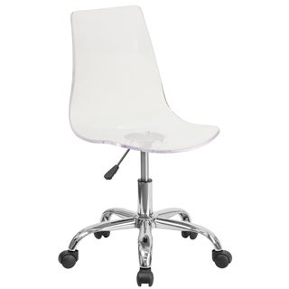 Lotos Clear Acrylic and Chrome Swivel Office Chair