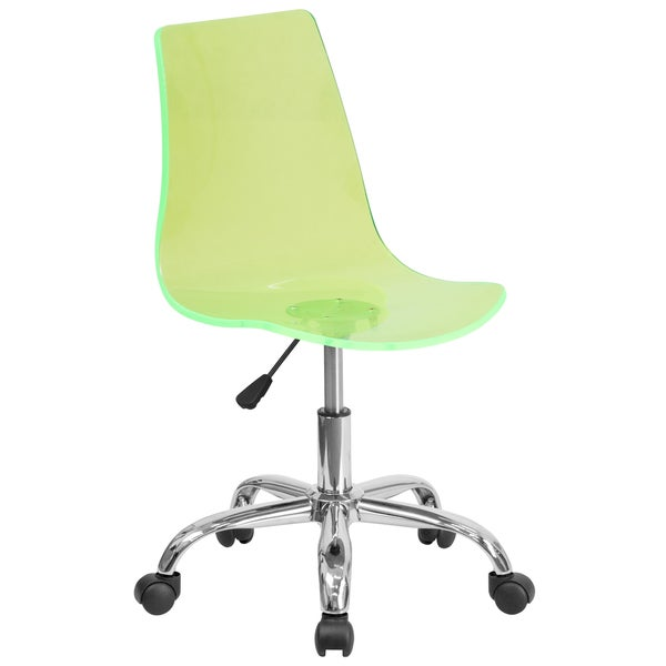 Superbe Lotos Green Transparent Chrome Base Acrylic Swivel Office Chair