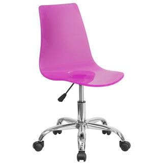 Lotos Pink Acrylic and Chrome Swivel Office Chair